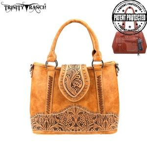 LBR Trinity Ranch Tooled Leather Carry Crossbody